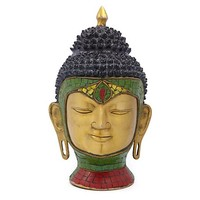 One Kings Lane - Distinctive Decor - Brass and Stones Buddha Head