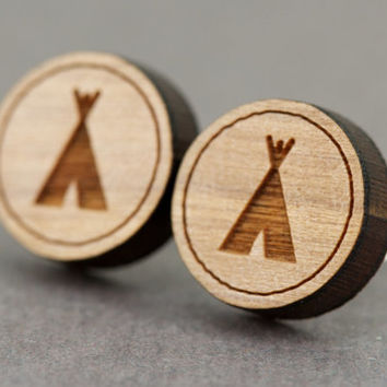 Fake Plugs Stud Earrings : Cherry Wood Earrings, Tent, TeePee, Camping, Outdoors, Adventurous, Circle, Round, Summer, Fun
