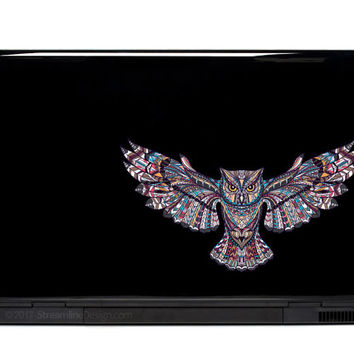 Owl Ornate Vinyl Laptop or Automotive Art FREE SHIPPING decal laptop notebook art sticker ornate detailed colorful flying psychedelic