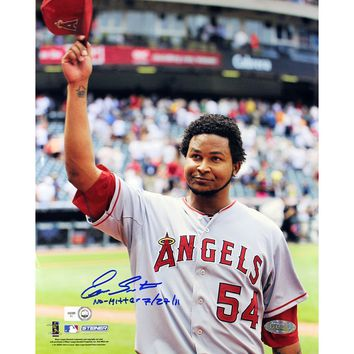 Ervin Santana Angels Road Jersey Salute To The Crowd Vertical 8x10 Photo w No Hitter 72711 Insc (MLB Auth)