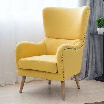 Mid-Century Modern Wingback Chair in Two-Toned For Living Room Bedroom Furniture Armchair Accent Chair Hi-Back Studded Chair