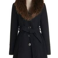Steve Madden Vintage Inspired Long Long Sleeve Straight Plush Coat
