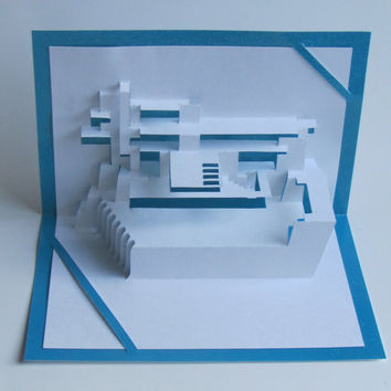 Pop Up 3D Origamic Architecture Card FALLINGWATER By Frank Lloyd Wright Hand Cut in White and Turquoise. Home Décor. Unique Impressive Gift