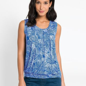 Blue Palm Maternity & Nursing Pleated Tank Top