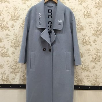Powder Blue Double Breasted Two Button Womens Drop Shoulder Wool Coat