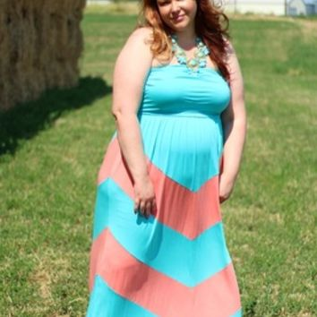 PLUS SIZE Aqua & Coral Chevron Maxi Dress