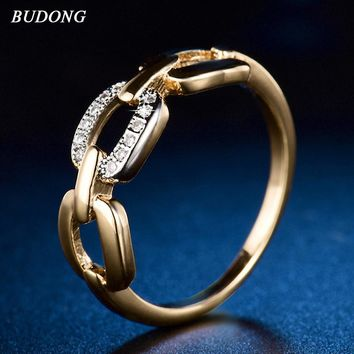 BUDONG Engagement Zircon Ring Fashion Jewelry Infinity Sign Women Rings for Wedding size 6-9 Sea Travel Gift XUR603