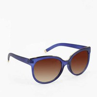 Gold Tipped Cat-Eye Sunglasses - Navy One