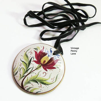 Handmade Mexican Pottery Pendant Necklace, Black Leather Cord