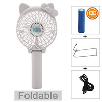 Portable USB Mini Cooling Fan with Mental Clip for Home Office Outdoor (Rechargeable,Handheld,Hello Kitty Style (white)