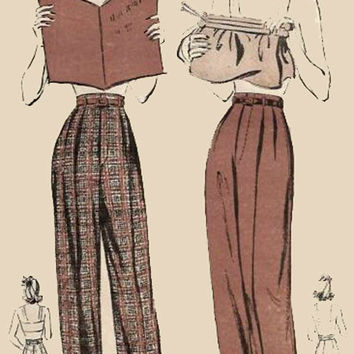 1940s Vintage Sewing Pattern Advance 2984 Swing Era High Waisted Cuffed Pants Size 18 Hips 39