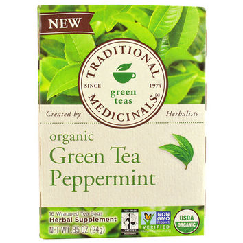 Traditional Medicinals Tea - Organic - Green Tea - Ppprmnt - 16 ct - 1 Pack