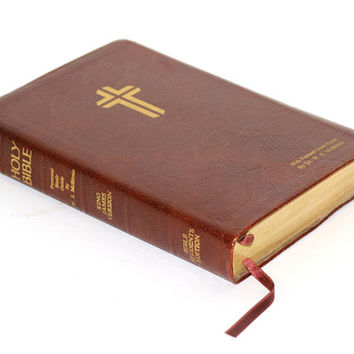 Holy Bible KJV Red Letter Student's Edition c. 1975 | The Open Bible with Study Helps Maps | Leather Cover | Thomas Nelson Publishers
