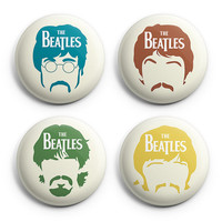 The Beatles Music Band Pinback Buttons Badge (Set of 4) 1.25 inches Graphic Set ,New