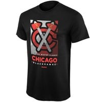 Mens Chicago Blackhawks Reebok Black 2015 Winter Classic Propaganda T-Shirt