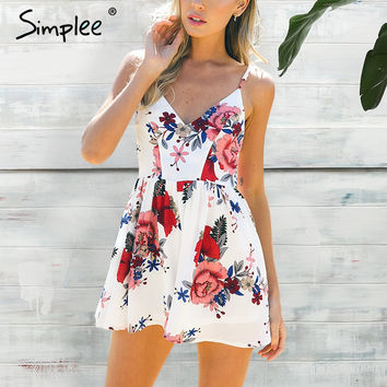 Summer beach boho floral print overalls Backless sexy bodysuit women jumpsuit romper Club white chifon playsuit leotard