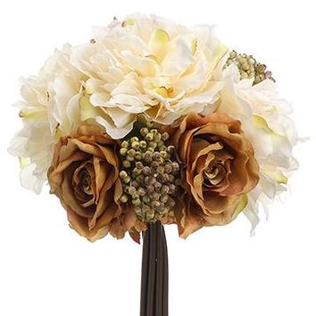 "Silk Peony, Rose & Berry Fall Bouquet Bundle in Cream and Brown - 20"" Tall"