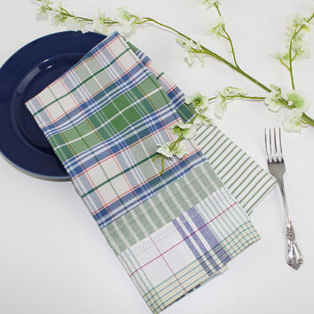 Country Green Plaid Cotton Dish Towel with Hemstitching, Cotton Tea Towel, T115