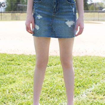 Distressed Denim Mini Skirt, Medium Denim