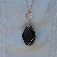 You're Still The One Necklace - Black/Worn Gold