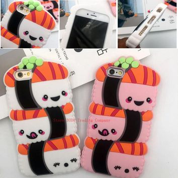 AIBOR New Fashion Kawaii Cute 3D panda Cartoon Sushi Soft silicone Back cover Case For iPhone 7 Plus 8 plus 5 5S SE 5C 6 6S Plus