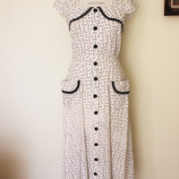 CLEARANCE: Vintage 1940s Key Print Dress, Princess Peggy