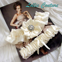 Old New Borrowed Blue Wedding garter Garter set by lolliecouture