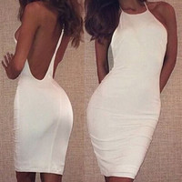 White Backless Bodycon Midi Dress