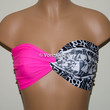 Neon Pink and Aztec Tribal Bandeau Top, Swimwear Bikini Top, Twisted Top Bathing Suits, Spandex Bandeau Bikini