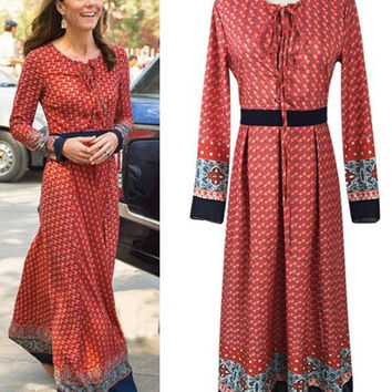 Duchess of Cambridge Kate Middleton Coral black long sleeve India dress