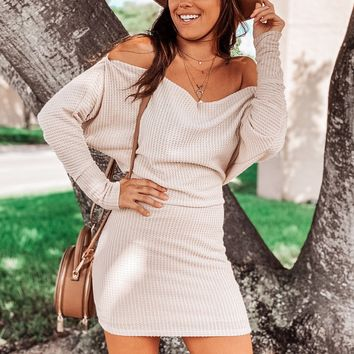 Cream Knit Short Dress with Sleeves
