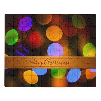 Multicolored Christmas lights. Add text or name. Jigsaw Puzzle