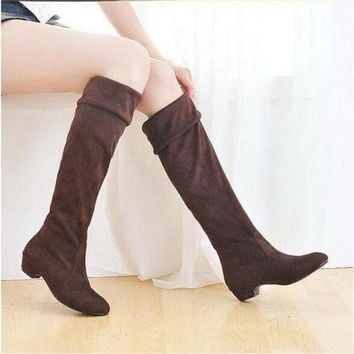 PEAPIX3 Fashion Women Spring Boots Over Knee High Long Boots Black Brown Flat Suede Shoes = 1946077188