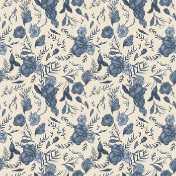 Jessica Roux's Blue Floral Pattern Removable Wallpaper