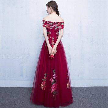 Red Off Shoulder Floral Beading Zipper A-line Evening Dress Floor Length Party Gown