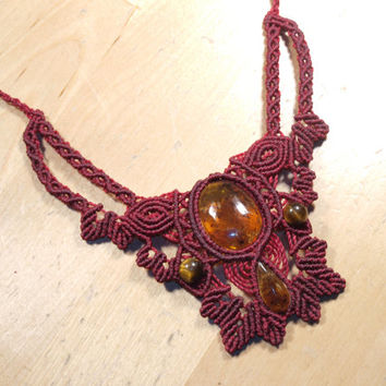 "Macrame necklace ""Frida Kahlo"", mexican amber, tiger's eye (best Christmas gift for woman)"