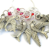 Charmed Stitch Marker Set | Beaded Stitchmarker | Knitting Stitch Marker | Knitting Gift | Flying Bird charm with Pink beads | #S022