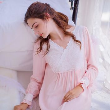 Autumn Cotton Long Nightgowns Women Vintage Sleep Lounge Nightdress Lace Indoor Clothing Sweet Dresses Princess Sleepwear
