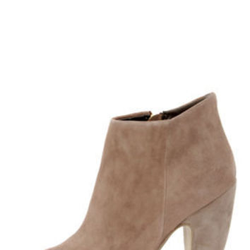 Steve Madden Paulina Taupe Suede Peep Toe Ankle Booties