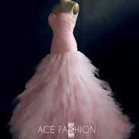Romantic Pink Fantasy Tulle Wedding Dress - Soft Pink Color Gown