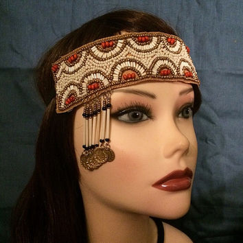 1920's style flapper headband native american beaded roaring headpiece head piece band 20's 1920s adjustable tassel coins boho hippie gold