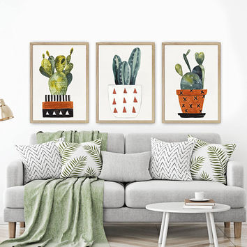 WATERCOLOR CACTUS Wall Art, Watercolor Boho Living Room Art Pictures, Cactus Pot Watercolor Artwork, Cactus Pot Set of 3 Canvas or Print