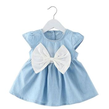 New 2017 Tutu Dress for baby Girls Cowboy Newborn Girl Birthday Party Dresses Outfit Princess dressing Cloth Summer Clothes