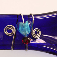Melted Wine Bottle - Spoon Rest - Heart Bead