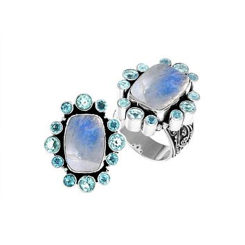 "AR-6143-CO2-6"" Sterling Silver Ring With Rainbow Moonstone & Blue Topaz"