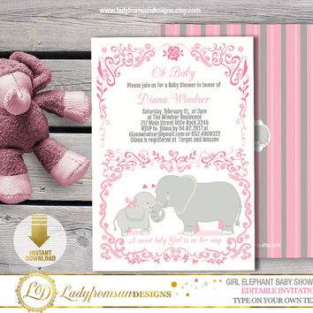 Girl Elephant Baby Shower , Elephant Invites, Pink And Gray , I