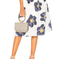 J.O.A. High Waisted Midi Skirt in White & Navy