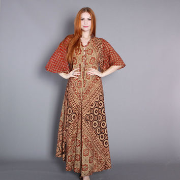 70s BATIK MAXI Dress / 1970s Angel Sleeve Ethnic Indian Cotton CAFTAN