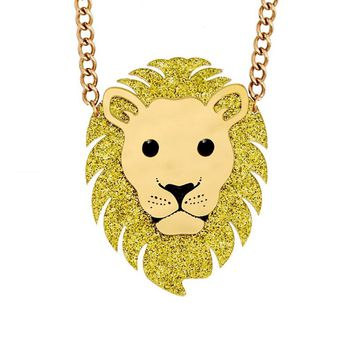 Hip Hop Jewelry Acrylic Animal Animal King Fashion Lion Head Pendant Necklace Gold Glitter Filled For Men Women Gift Present