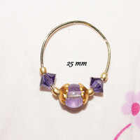 Stunning! Piercing Jewel, Nose ring, Septum, Large model for Your Nostril Gold plated, 20 gauge Purple and Gold